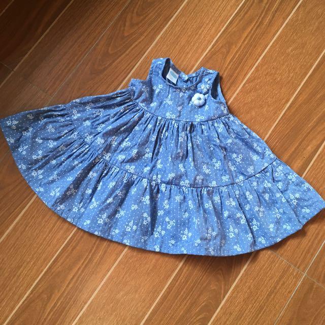 Floral Printed Blue Dress