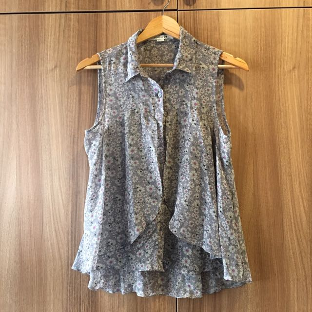 Forever 21 Gray Floral Mullet Top