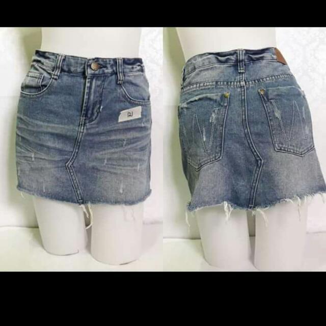 Tattered Denim Mini Skirt