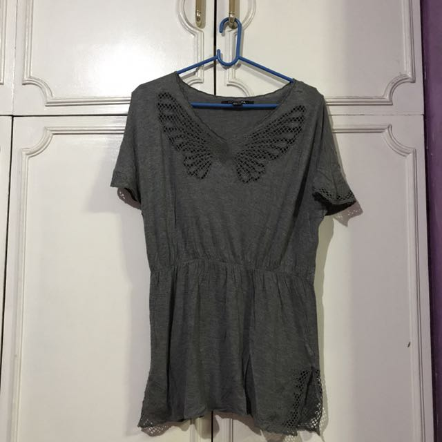 Gray Blouse With Butterfly Design