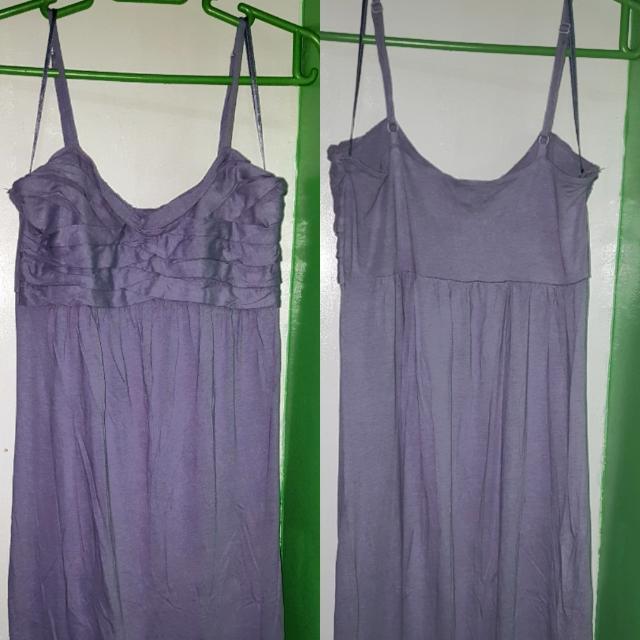 Gray Spagetti Strap Long Dress