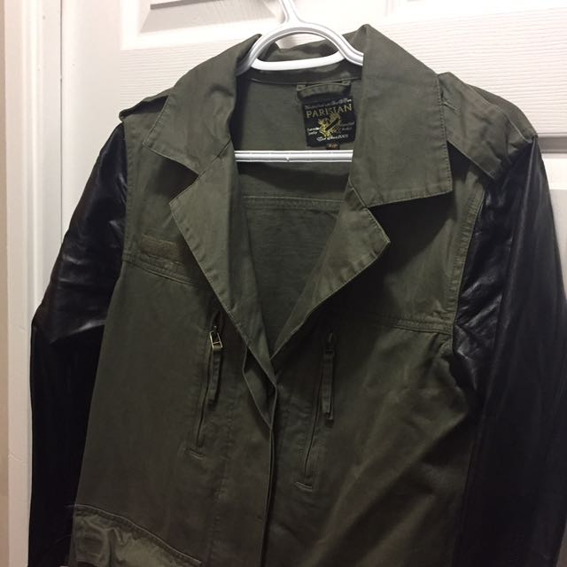 Green & Black Faux Leather Army Military Jacket Size Small