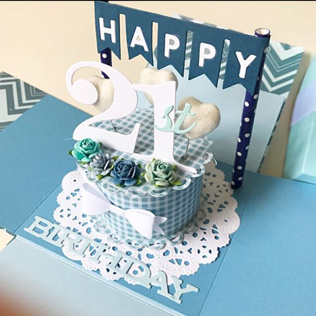 Happy 21st Birthday Explosion Box Card In Blue Design Craft