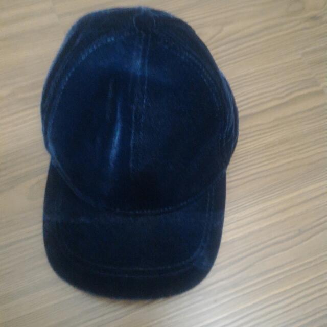 H&M絨布材質深藍棒球帽