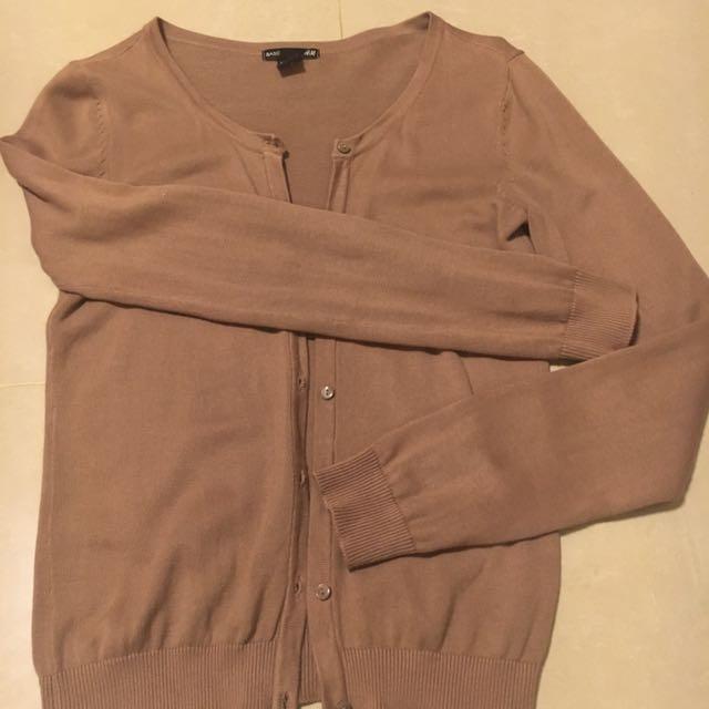 H&M 深駝色針織外套