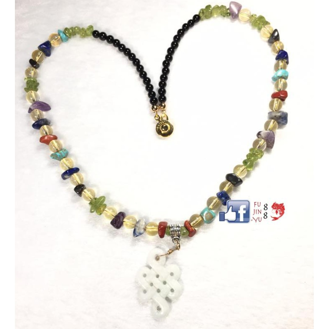 I ❤️ U Crystal Necklace with High Grade Mystic Knot Jade - ALL-IN-ONE
