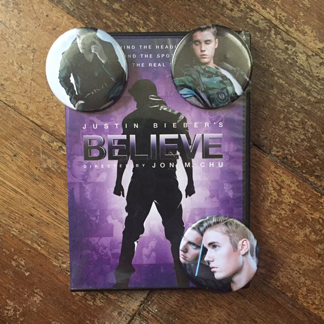 Justin Bieber's Believe DVD and Button Pins