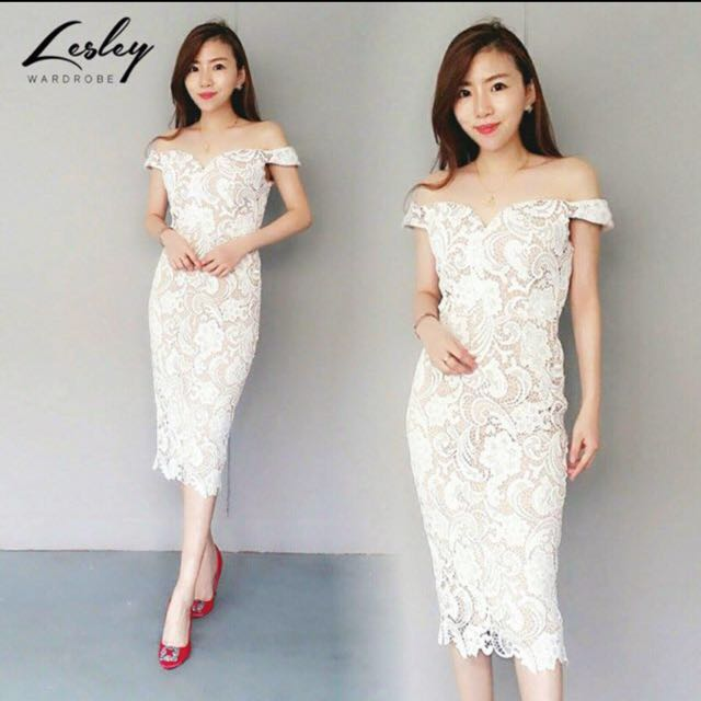 Lesley Wardrobe Off Shoulder Lace Midi Dress