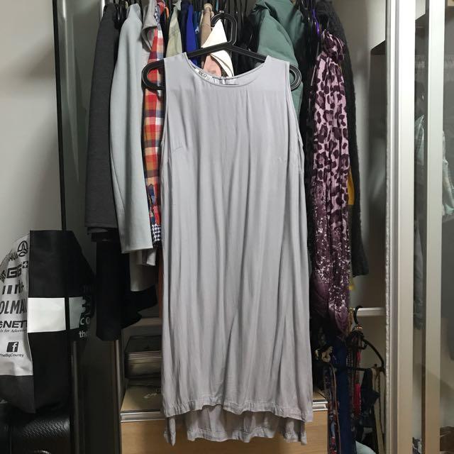 Long Gray Top w/ High Slit