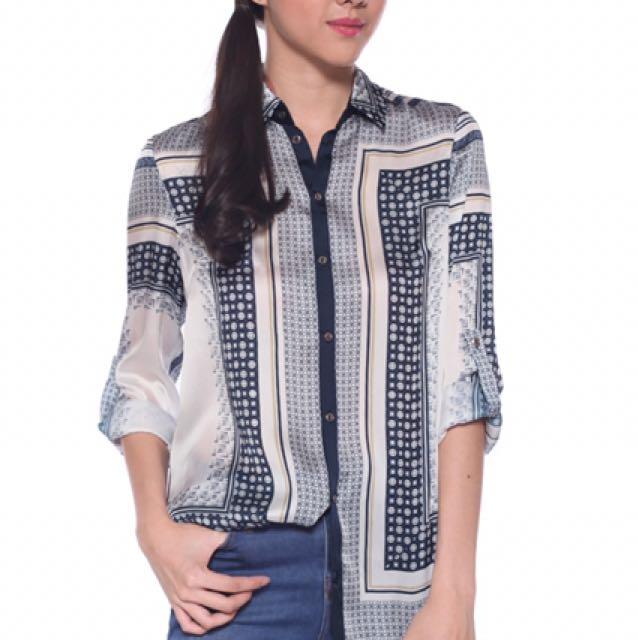97a9a5ec5d5a87 Love Bonito Alcesta Scarf Print Shirt Blouse