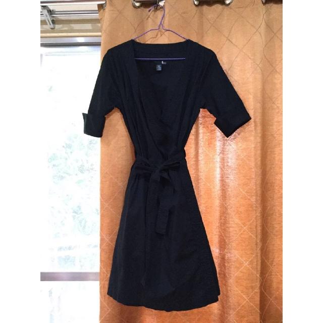 Memo Black Wrap Around Dress
