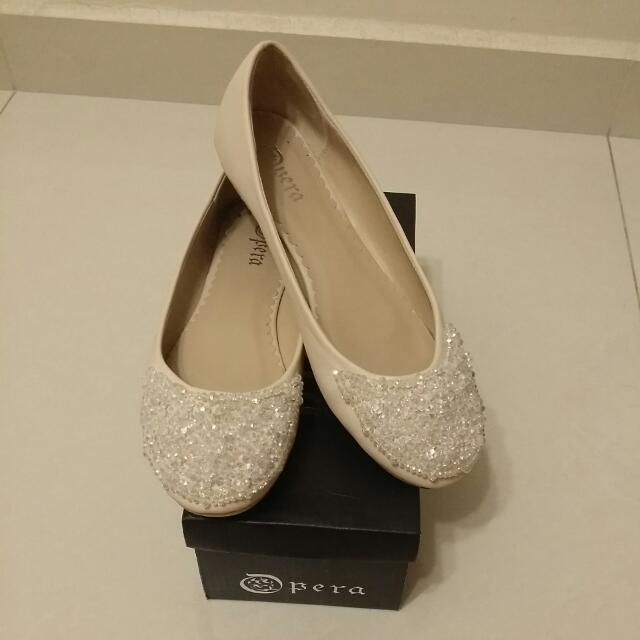 Opera Patent Leather Pumps With Shiny Beads Detailing (Pre-loved)