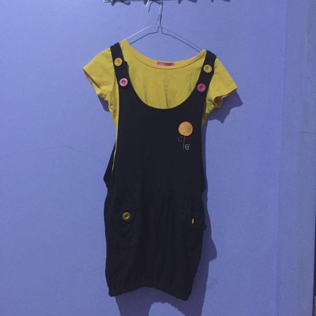 Overall Black + Yellow Tshirt