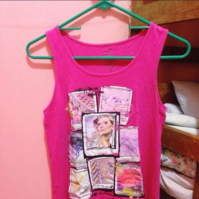 Pink sleeveless long-back blouse - Sando-type