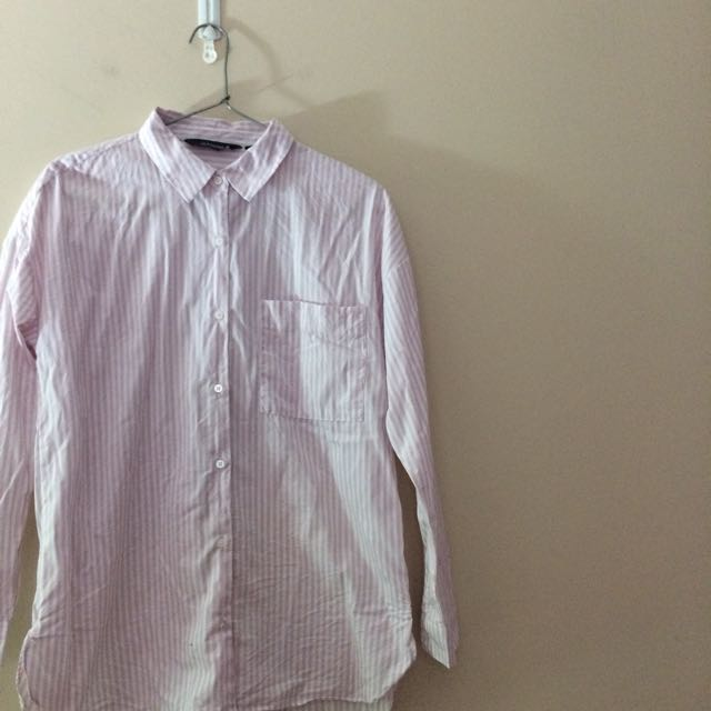 Pink Stripe Shirt With Front Pocket