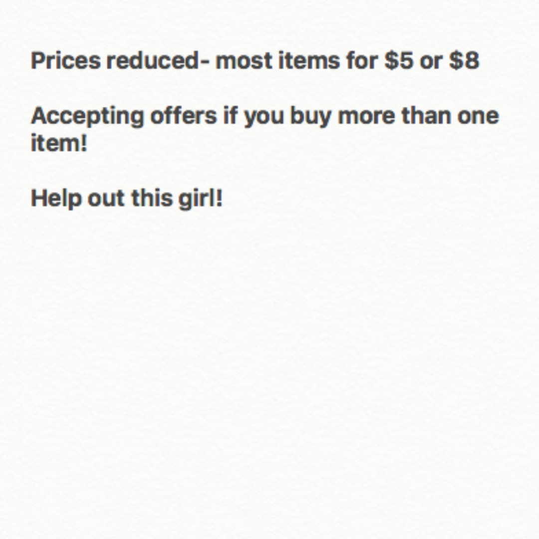 Prices reduced- $5 to $8