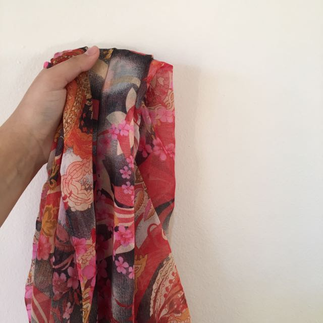 Red Flower Printed Scarf
