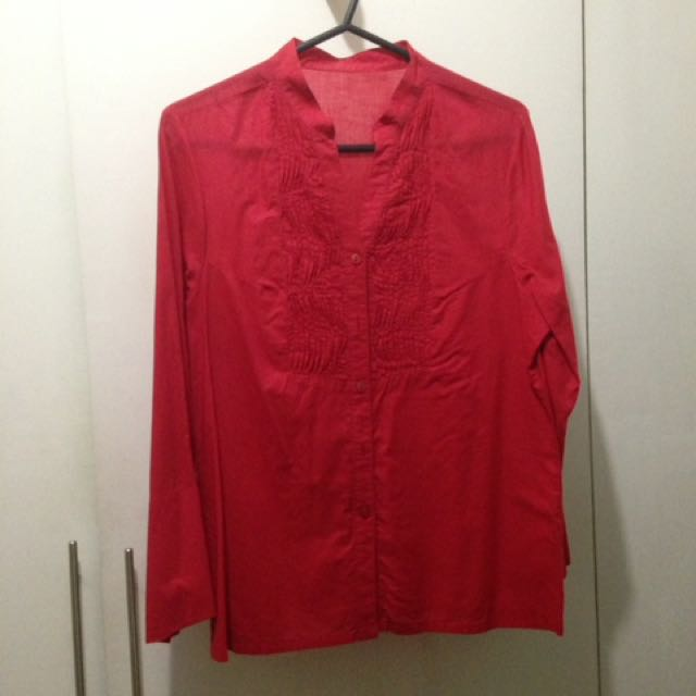 Red Office Blouse