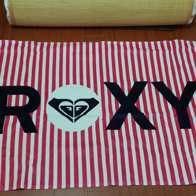 ROXY 桃紅條紋 大浴巾