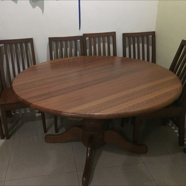 Solid Nyatoh Dining Set Extendable Round Table 4 5ft And 6 Chairs Home Furniture Furniture On Carousell