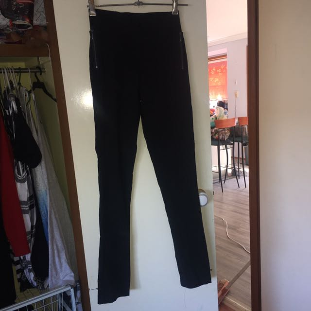 Stretch Black Work Pants With Zipper Detail