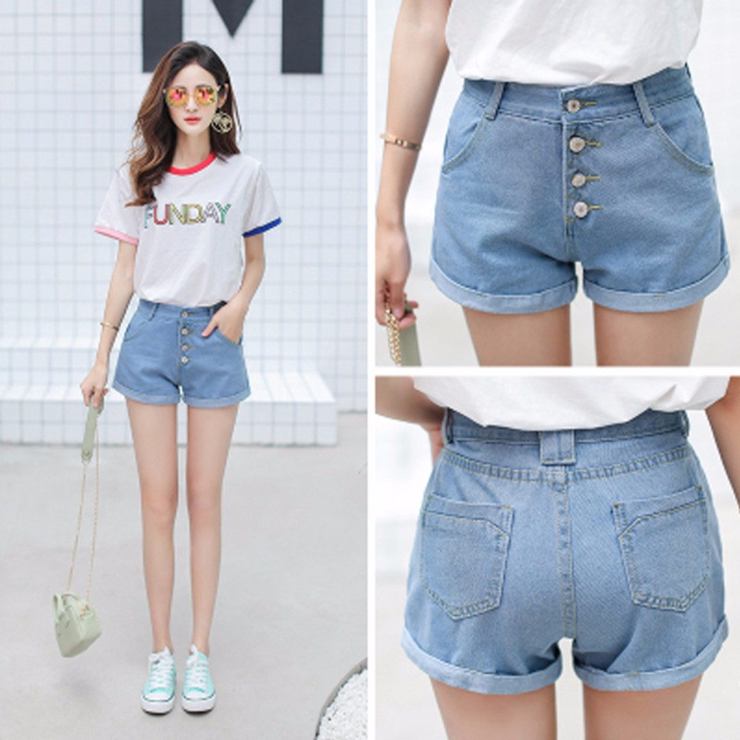 b0868cf81 Summer fashion Korean simple four buckle high waist denim shorts hot pants  curling shorts pants, Women's Fashion, Clothes, Pants, Jeans & Shorts on ...