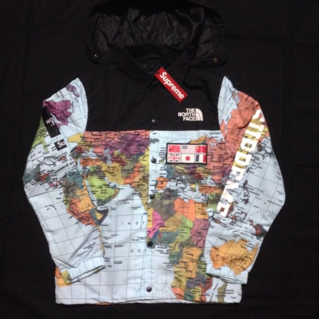 Supreme x the north face world map jacket mens fashion clothes on photo photo gumiabroncs Choice Image