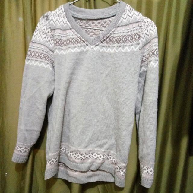 Sweater Rajut Abu-Abu (no brand)