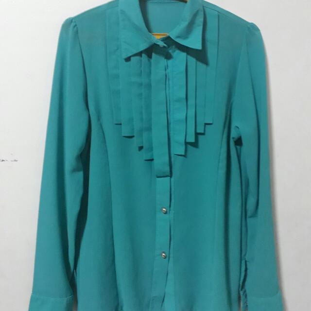 Teal Long Sleeves Polo