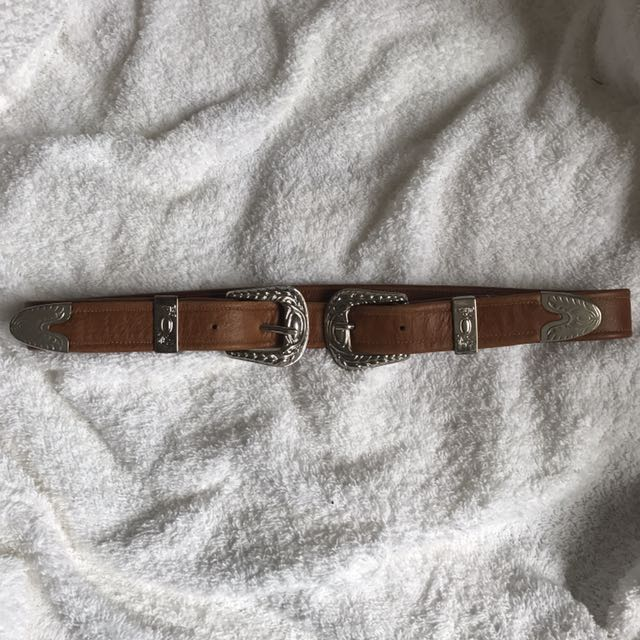 The Lair Leather Brown Concho Belt