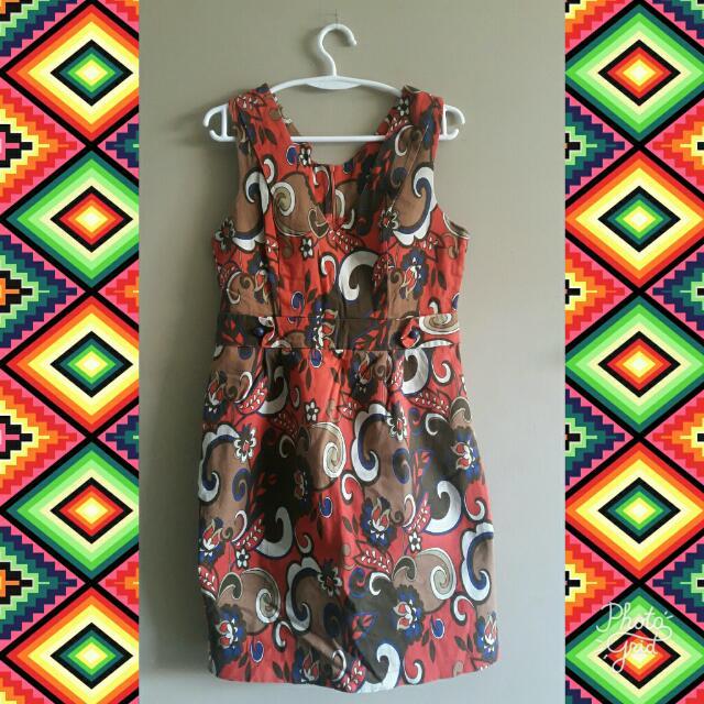 V-neck Patterned Dress