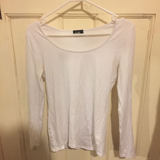 White Dotti Long Sleeved T Shirt