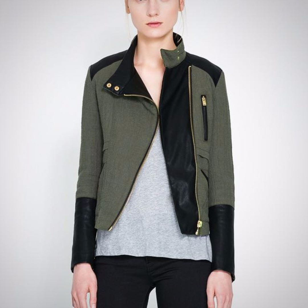 Zara Olive Green and Leather Quilted Crossover Jacket (S)