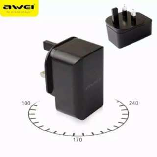 AWEI 2.4A 2 USB Port Charger Fast Charging Portable Travelling 旅行插頭