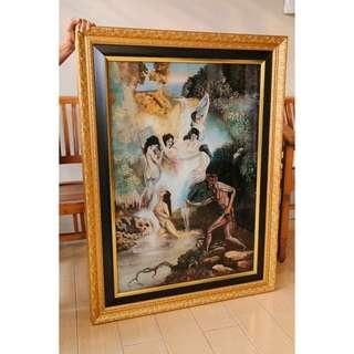 Legend of Jaka Tarub and Seven Apsaras Glass Painting by Marzuki