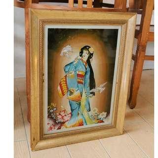 Japanese Woman In Kimono Glass Painting by Marzuki