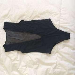 Mesh Front/ Low Back Black Bodysuit