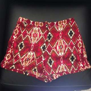Maroon Patterned Shorts