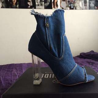 Blue Denim Peep toe Perspex Boots