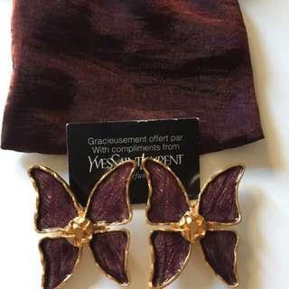 vintage ysl butterfly earrings