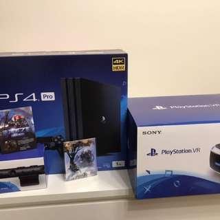 Sony PlayStation PS4 pro 1TB 及 Sony PlayStation VR 連鏡頭 及Never winter 遊戲包同HORIZON ZERO DAWN抽獎禮品