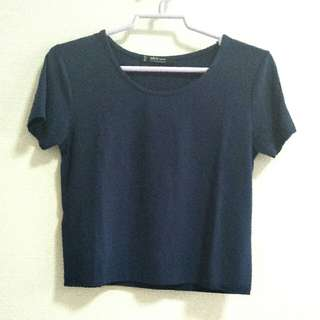MNG Basic Cropped Top Navy