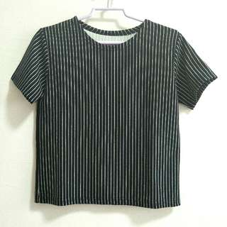 Black Pinstripe Top