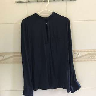 Zara Navy Blue Blouse