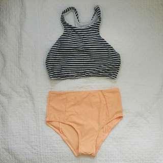 Striped Top & High Waisted Bottom Two-piece Bikini