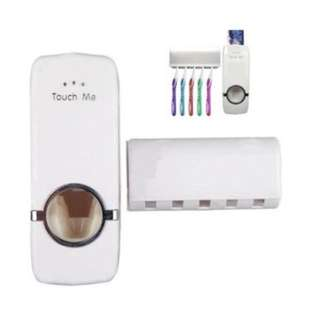 Touch Me Automatic Toothpaste Dispenser and Toothbrush Holder