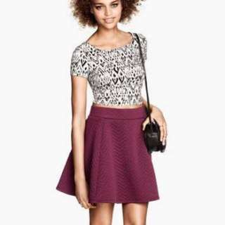 H&m Maroon Circle Skirt