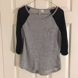 Grey/Black H&M Baseball Tee