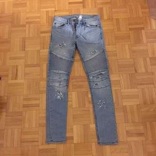 H&M Ripped Biker Jeans