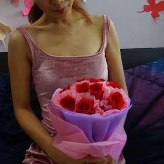 Velvet Baby Pink Bareback Dress